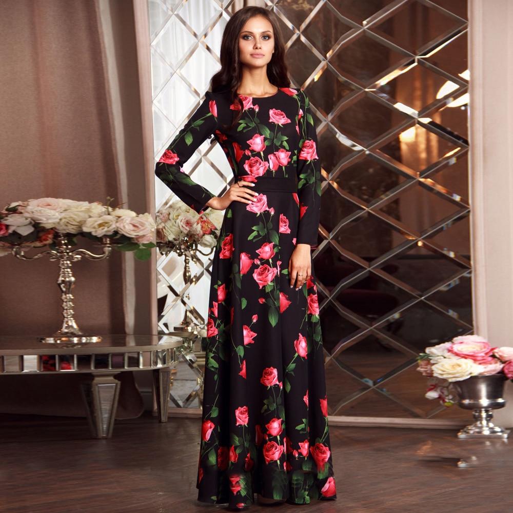 Maxi plus size dress long dess Autumn winter 2017 women black long sleeve Cosplay Longos vintage flowers party print long dress