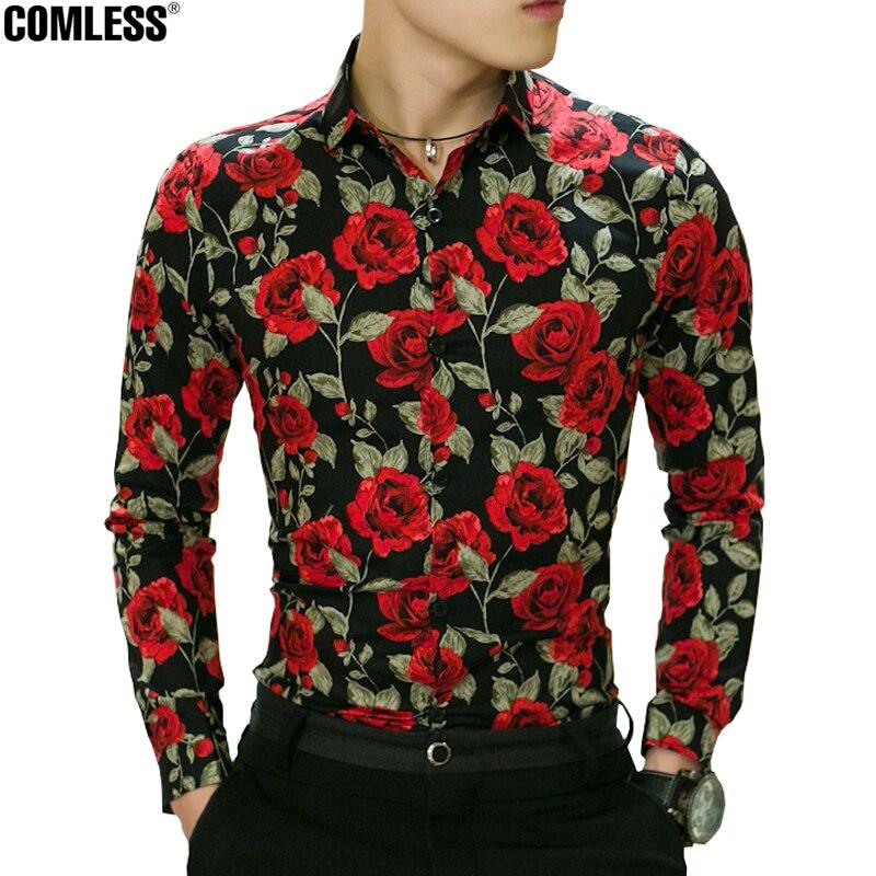 Camisa masculina 2017 new spring flower printed shirt men for Mens printed long sleeve shirts