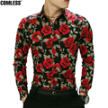 Camisa Masculina 2017 New Spring Flower Printed Shirt Men Long Sleeve Slim Casual Mens Shirts Chemise Homme Brand Clothing XXXL
