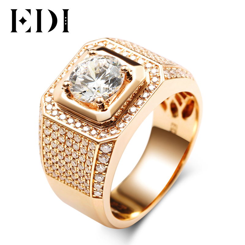 EDI Luxurious Pave Moissanite Ring 14k Rose Gold 1CT Round Cut Brillant Lab Grown Diamond Band For Men's Wedding Men's Jewelry moissanite pendant 18k 750 yellow gold round brilliant lab grown moissanite diamond pendant necklace chain for women jewelry
