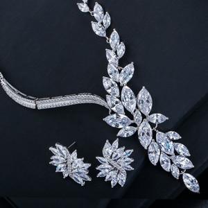 Image 3 - Cwwzirconsブランドキュービックジルコニアウェディングジュエリーアクセサリーブライダルラインストーンのネックレスとイヤリングのセット花嫁T142