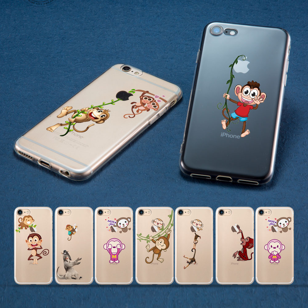 Funny monkey on phone case for iPhone 6S Cases for iPhone XS Max XR 7 8 5 5S SE Monkey for iPhone 5 5S 6 6S Plus 7 8 Plus Cases
