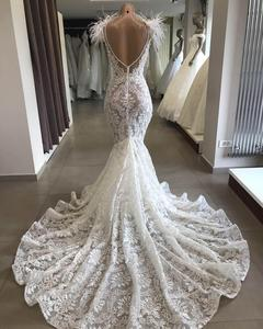 Image 3 - Robe De Mariee Luxury Customized Lace Beading Wedding Dress 2019 Elegant Backless Mermaid Wedding Gowns Court Train Bridal Dress