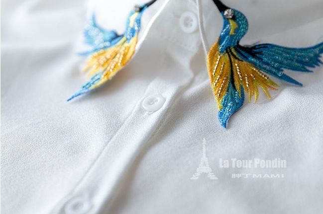 Fesyen Reka Bentuk Baru Burung sulaman bordir kalung rompi baju Tali - Pakaian wanita - Foto 4
