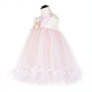 Image 3 - かわいい花の女の子の結婚式ユニコーンベビー服十代ノースリーブ笑ドレスピンクのためのチュールレースちょうチュチュドレスvestido
