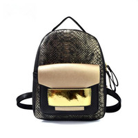 New High Quality Snake PU Leather Women Backpack Female Fashion Rucksack Brand Designer Ladies Back Bag