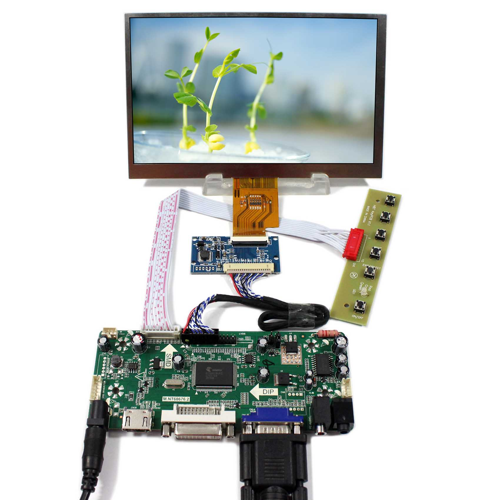 7inch LCD Screen 1024X600 AT070TNA2 HDMI DVI VGA LCD Controller Board M.NT68676 vga 2av reversing lcd controller board with 7inch 1024x600 at070tna2 lcd screen