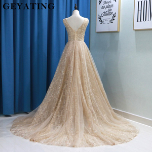 Image 5 - Glitter Champagne Sequins Evening Party Gowns 2020 Elegant Women Plus Size Formal Dress Sexy V Neck Backless Prom Dresses Gold
