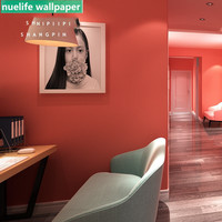 Nordic style princess pink solid color wallpaper bedroom living room wedding room restaurant hotel TV background wall paper