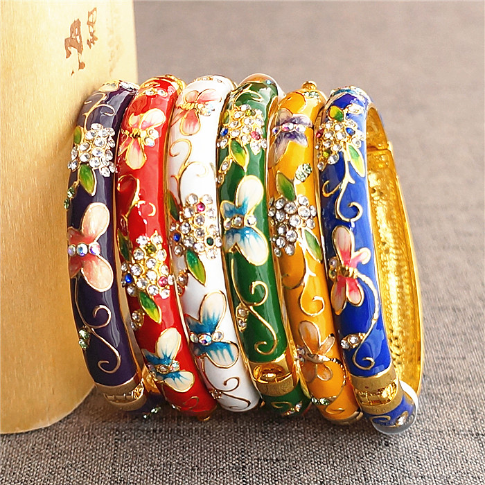 Butterfly Flower Chinese Ethnic Rhinestone Bangle Cloisonne Enamel Ladies Bangles Colorful Fashion Jewelry birthday Gift
