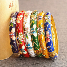 Butterfly Flower Chinese Ethnic Rhinestone Bangle Cloisonne Enamel Ladies Bangles Colorful Fashion Jewelry birthday Gift
