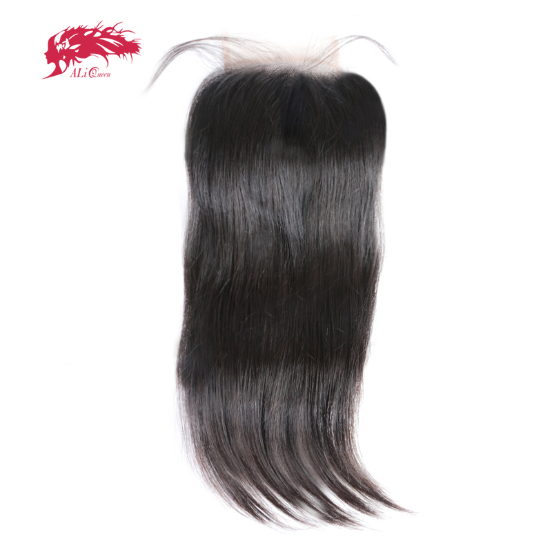 Ali Queen Hair 5x5 Lace Closure Pre-Plucked With Baby Hair 12~20inch Brazilian Virgin Human Hair Straight Closure Free Shipping