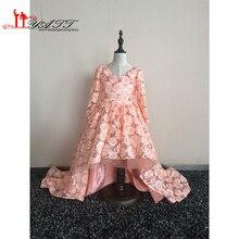Real Photo In Stock Little Girls Pageant Dresses 2016 V-neck A-line Lace communion dress vestidos de primera comunion