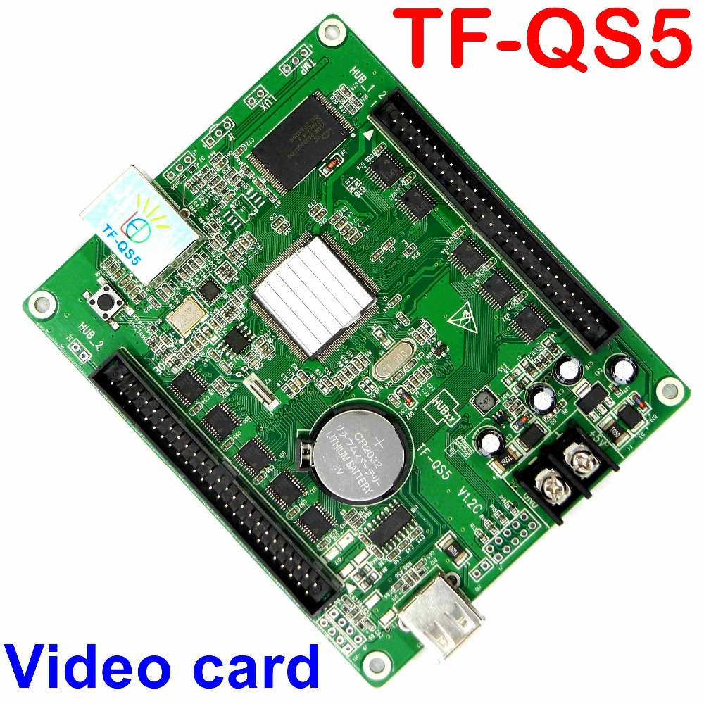 цена на Free ship TF-QS5 USB and network full color asynchronous display control card 320*128 pixel led controller for rgb P10,p4,p5,p3