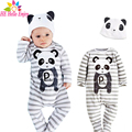 He hello enjoy macacão de bebê primavera 2017 roupas bebê recém-nascido menino manga longa faixa ocasional animais panda macacão roupa infantil