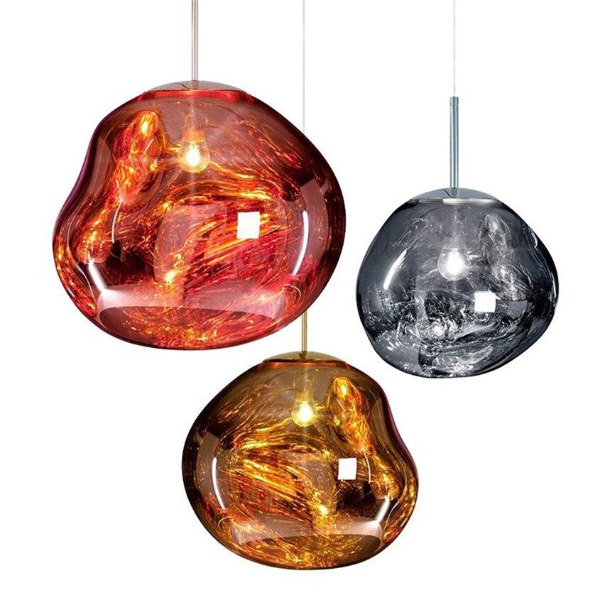 Modern D30/40CM Tom DIXON Melt Pendant Lights Glass Lava Irregular Silver Gold Copper Mirror Hang Lamp for Living Room Lighting