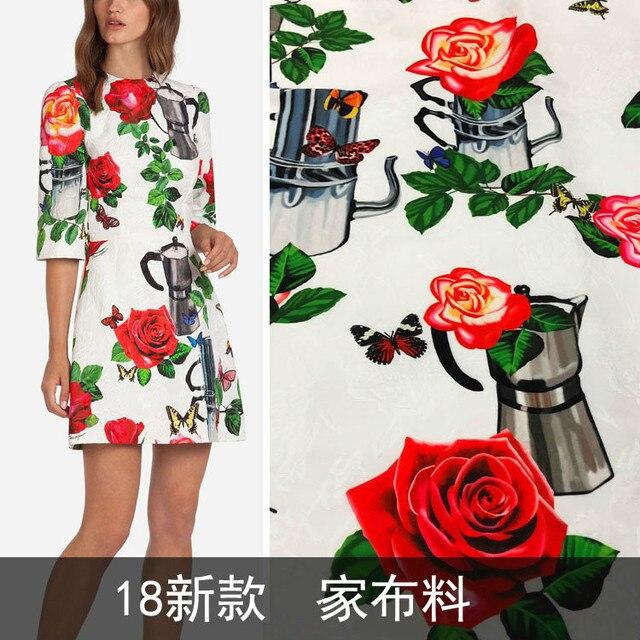 2018 new pattern white kettle rose jacquard fabric skirt dress fashion cloth wholesale stock