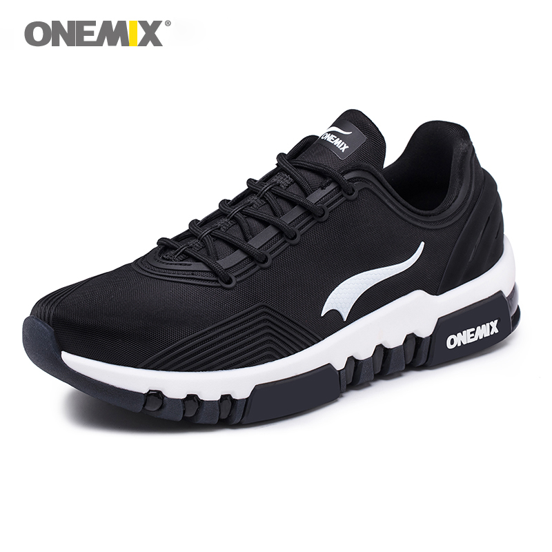 ONEMIX zapatillas de deporte de los hombres al aire libre cojín de aire Zapatos negro zapatos de los hombres de amortiguación al aire libre zapatillas Deportivas Zapatos masculinos transpirables blanco