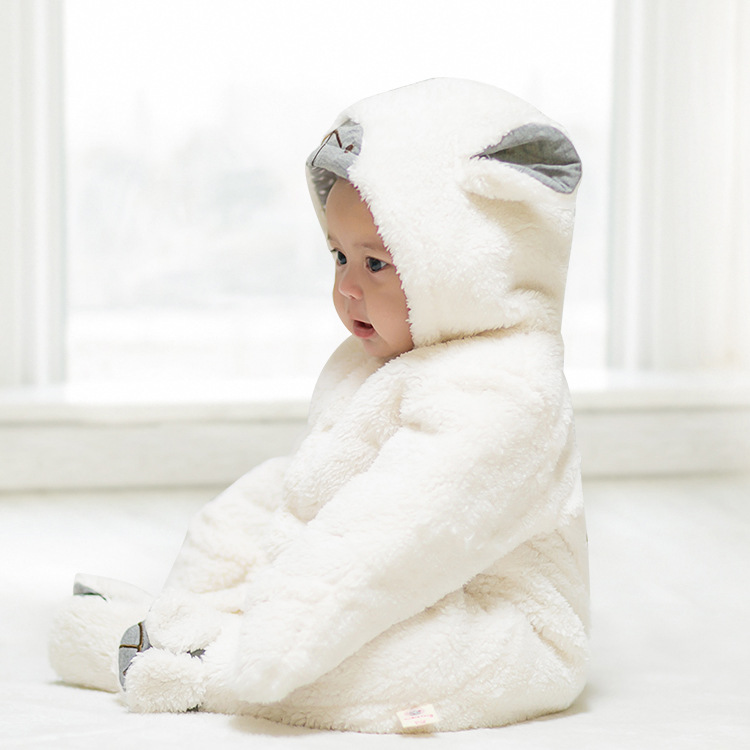 ee6b6795de2d2 2018 Cute Cartoon Sheep Baby Girls Clothes Animal Baby Rompers Costume  Winter Clothes for Boys Warm Snowsuit Jumpsuit-in Rompers from Mother & Kids  on ...