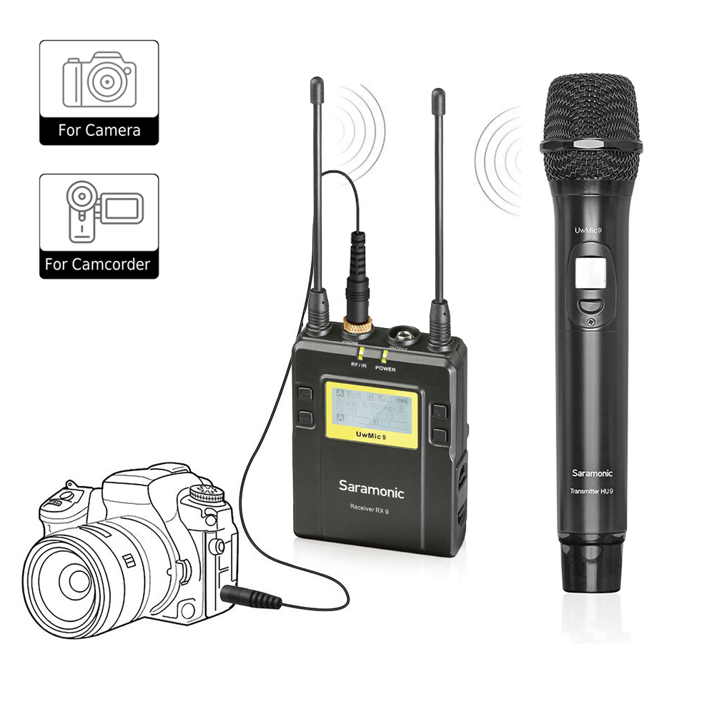 wireless handheld microphone for dslr camera saramonic uwmic9 uhf interview microphone system. Black Bedroom Furniture Sets. Home Design Ideas