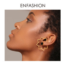 Enfashion Maple Leaf Geometric Stud Earrings For Women Gold Color Stainless Steel Metal Earings Big Ear Studs Jewelry EB191029(China)