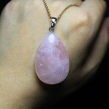 1 шт. в форме капли воды натуральный розовый кристалл кварца камень кулон 22*34 мм DIY Fit ожерелья для изготовления ювелирных изделий