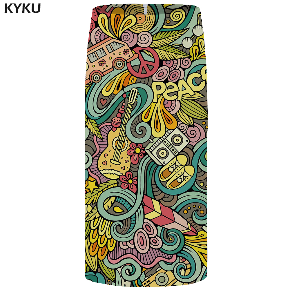 KYKU Music Skirts Women Colorful Office Pencil Skirts Harajuku Sundresses Car 3d Printed Casual Party Ladies Skirts Womens 2018