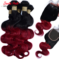 Ombre Malaysian Virgin Hair With Closure Human Hair Bundles With Lace Closure Body Wave Lace Closure With Hair Bundles 1B red #