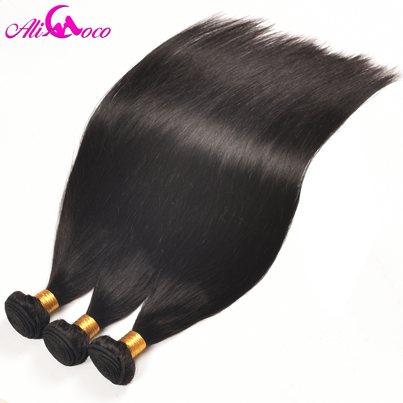 Ali Coco Peruvian Straight Hair Weave 100% Human Hair Bundles 10-28 inch Natural Color 3 Piece/lot Non Remy Hair Free Shipping