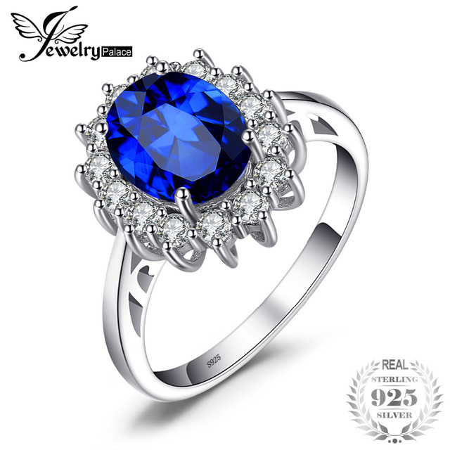 JewelryPalace 925 Sterling Silver Ring 3.2ct Blue Created Sapphire Engagement Ri
