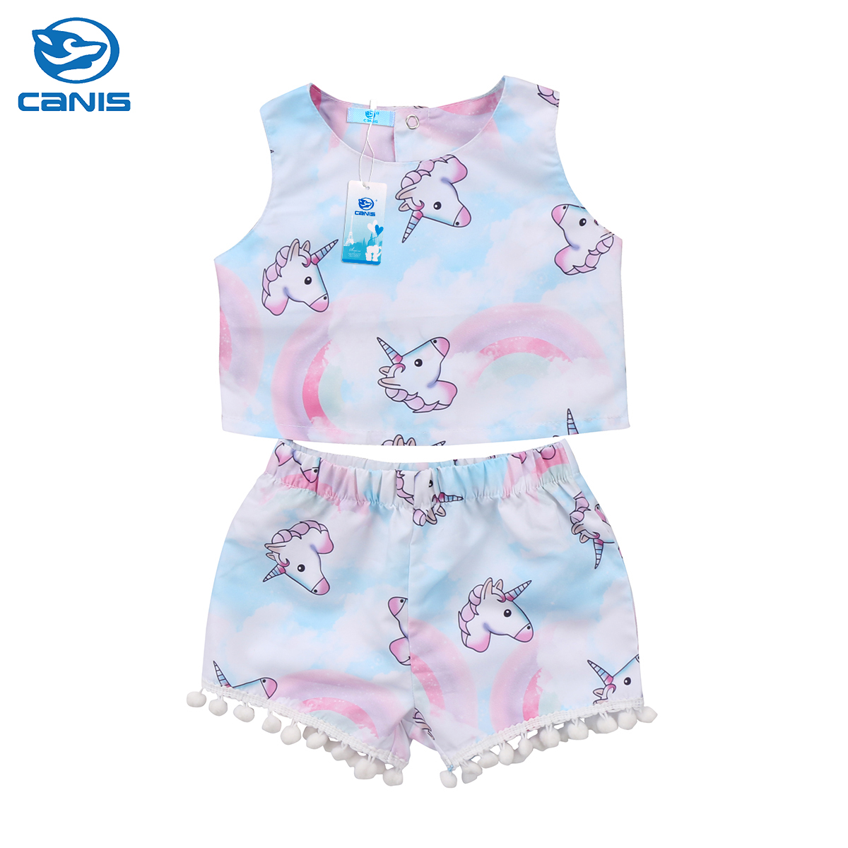 2018 Baby Girls Kids Set Unicorn Clothes Summer Short T-Shirt Tops Tassels Pants Legging Outfits Set Clothes toddler baby kids girls clothes sets summer lace tops t shirt short sleeve denim jeans pants cute outfits clothing set