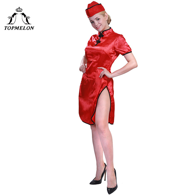 TOPMELON Women Tang Suit Sexy Red Open Dress for Cosplay Chinese Gown Medieval Dress Short Sleeve
