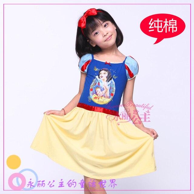 Children's clothing female child one-piece dress 100% cotton short-sleeve child princess dress summer 2013 snow white princess