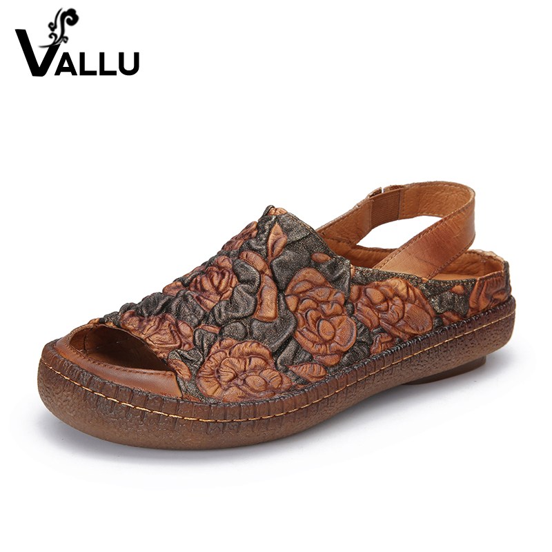 Embossed Flower Sandals Shoes Lady 2018 Natural Leather Peep Toe Women Sandale Handmade Elastic Band Casual Female Shoes
