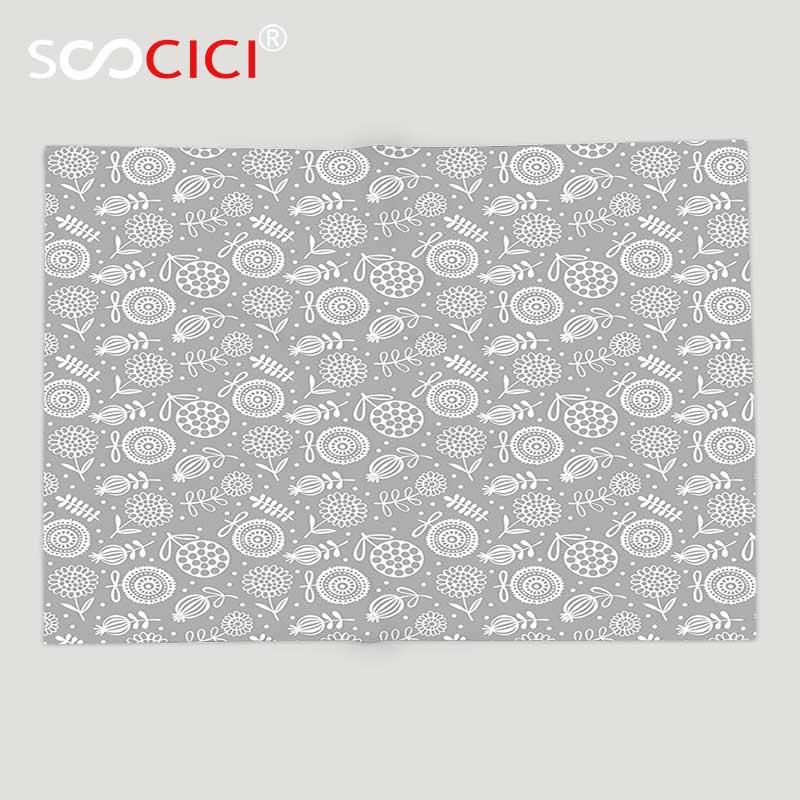 Custom Soft Fleece Throw Blanket Collection Flower Pattern Cartoon Doodle Floral Petal Ornament Springtime Abstract Art