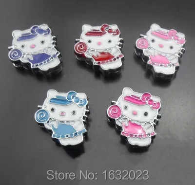 ¡Caliente! 20 PCs unids/lote 8 MM hello kitty slide charms Fit para pulsera o cinturón de 8mm, al por mayor SC41