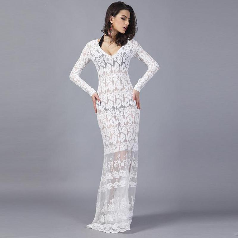 Long Sleeve Maxi Dress 2017 Europe Women Clothing Sexy Party Vestidos Fashion V neck Slim Hollow Out White Mesh Dresses Hot Sale