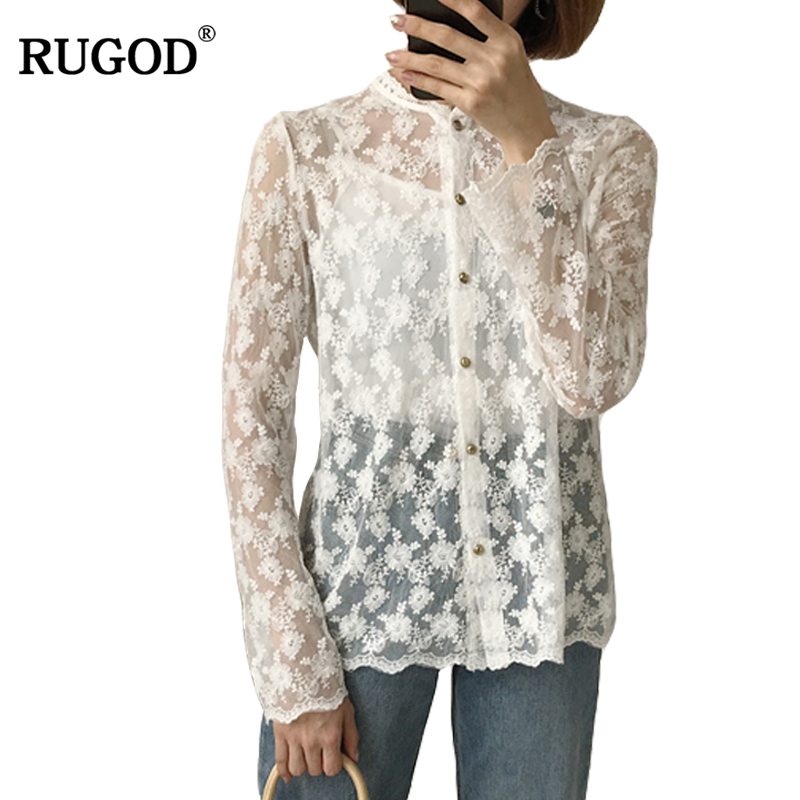 RUGOD Fashion White Lace Blouse O neck Long Sleeve Women Shirts with Tank Top 2018 New Sexy Button Womens Tops And Blouses