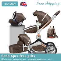 Hot Mom 4 in 1 Luxury Baby Stroller High Landscape 2 in 1 Light folding Four Wheels Baby Pram CE standard free shipping Gifts