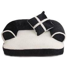 Luxury Cute Cat Dog Pet Beds Mats Fleece Warm Pet Dog Sofa with Pillow Pet Cat Bed House Big Blanket Cushion Basket Supplies