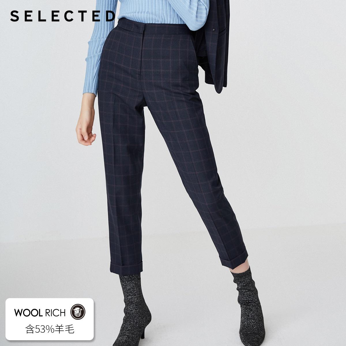 SELECTED Women s Wool blend Plaid Casual Crop Pants SIG 418418504