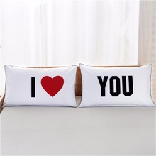 Lovely King  I Love You Coverlet Romantic Wedding Valentine's Gift  Couple Pillowcases Cute Queen Size Pillow Case for Bed