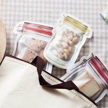 4/3 шт Упаковка-банка многоразовый мешок для закусок мобильный герметичный морозильник сумки Ziplock Сумки Кухня Еда Мейсон бутылка путешествия уплотнение мешок