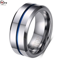 NFS Men's Rings White Plated Fashion Thin Blue Line Tungsten Ring Wedding Brand 8MM Tungsten Carbide Rings for Men Jewelry