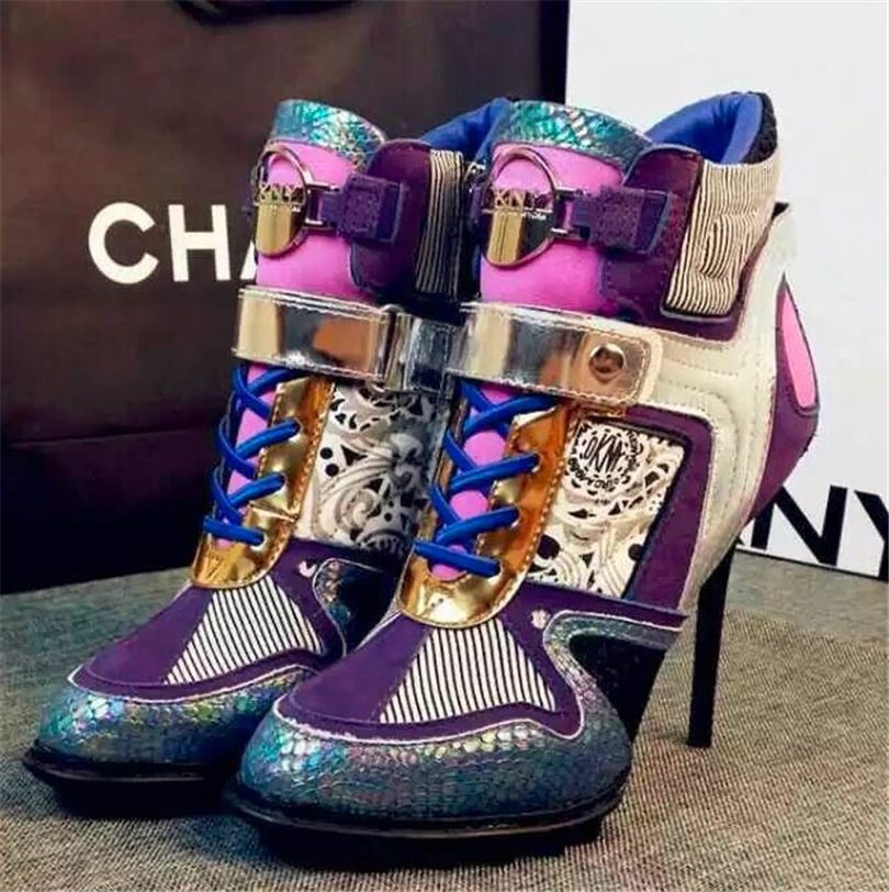 The latest trend of high-heeled shoes 2016 Europe leather mixed colors of England Martin boots influx of women SUB678