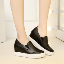 Autumn genuine leather women thick crust muffin shoes female casual women loafers white black flat women's shoes