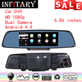 2016 New arrive Touch screen 2 Split View Android GPS Navigation Mirror Car DVR dual lens camera rear parking WiFi FM Transmit