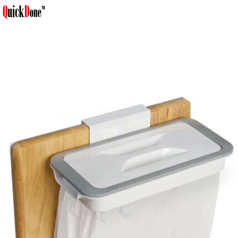 QuickDone 1Pc Hanging Trash Bag Holder Plastic Kitchen Cabinet Cupboard Rack Garbage Storage Kitchen Accessories AKC6299