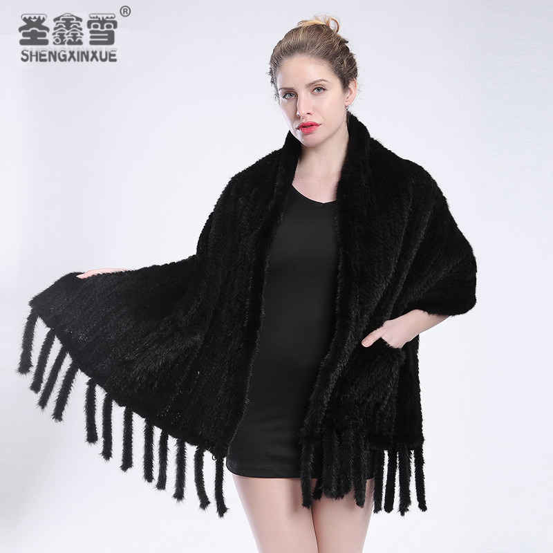 2017 mode chaud fourrure de vison fourrure châle grande taille écharpe de vison tissé écharpe châle de fourrure de vison manteau livraison gratuite