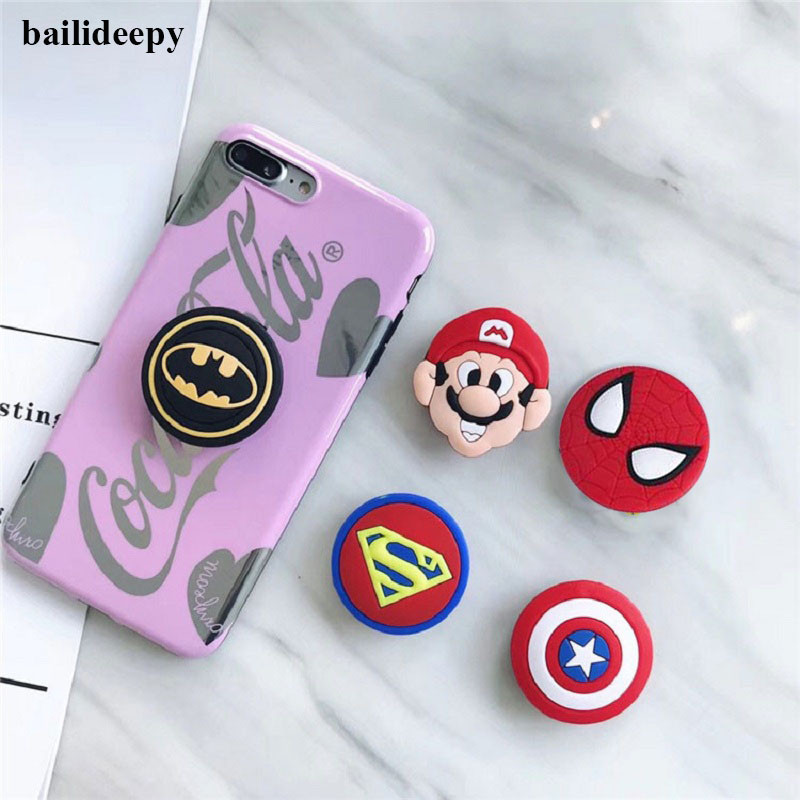 New Phone Grip Superhero Spiderman Batman Cell Phone Holder For IPhone Xs Huawei Stand Cartoon Silicone Lazy Phone Airbag Holder